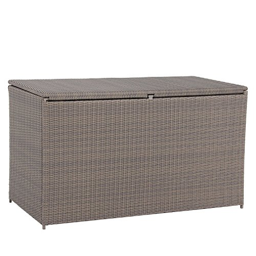 Webster Extra Large Steel Frame Resin Wicker Outdoor Deck Storage Box / Bin, 180-Gallon, with Liner and zippers, (150 Deck Box)