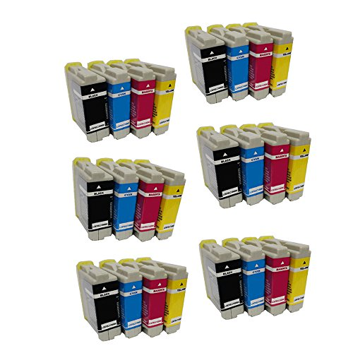 HOTCOLOR(TM) 24 Pack (6BK/6C/6Y/6M) High Yield Ink Inkjet Cartridges for LC51 LC 51 Compatible Brother MFC 230C 240C 350C 440CN 465CN 3360C 5460CN 5860CN 665CW 685CW 845CW 885CW