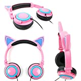 DURAGADGET Pink Cat Children's Headphones (with Blue LED Ears) for DBPower 9.5'' Swivel Screen Handheld Portable DVD Player Remote Car Adapter in Car & 7.5'' 270° Portable DVD Player