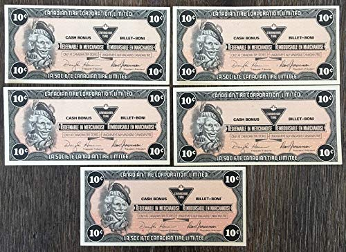 Unbranded LOT 5X 1987 Canadian TIRE 10 Cents NOTESCRISP UNCIRCULATED CTC S9 C BW