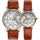Fq-102 Ultrathin Leather Romantic Rose Golden Pair Wrist Watches for Couples Men Women Set of 2 Pcs