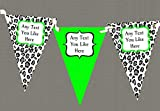Black White & Lime Green Animal Print Personalised Birthday Party Bunting