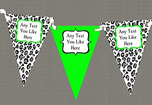 Black White & Lime Green Animal Print Personalised Birthday Party Bunting by The Card Zoo
