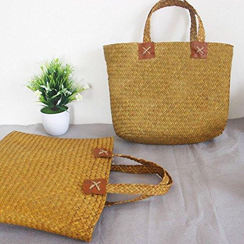 yunt à sac voyage à à Seaweed bandoulière sac pour femmes en tissé la bandoulière main plage à bandoulière à tout lune Sac fourre les main sac tissé Sac la main à bambou sac demi pIS4qwq