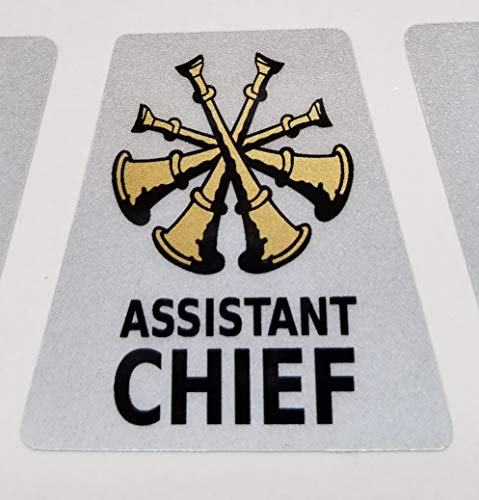 (High Performance Vinyl Graphics LLC Reflective Assistant Chief 4 Bugles Firefighter Rank Helmet Decal Tetrahedron with Gold Metallic)