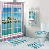 Bathroom 5 Piece Set shower curtain 3d print Multi Style,House Decor,Ocean View from the Window on Island in Sunny Summer Day Peace Relax Rest and Forget Theme,Pink Blue,Bath Mat,Bathroom Carpet Rug,N