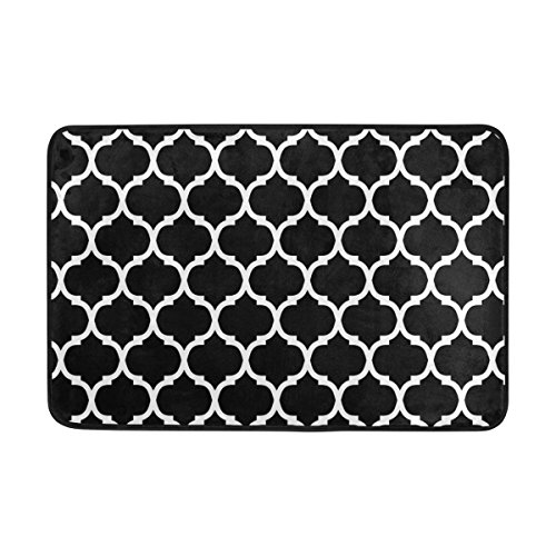 DemonCo Trellis Quatrefoil Moroccan Door Mat Rug, Teal Black White Geometric Lattice Welcome Mat Doormat Entrance Kitchen Bathroom Mat Rug Outdoor Indoor Decor 23.6 X 15.7 Inches (Door Trellis)
