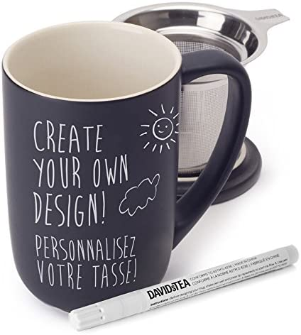 davids tea customizable mug with pen