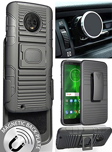 Moto G6 Case/Mount/Clip, Nakedcellphone Black Ring Grip Case Cover + Belt Clip Holster Stand + Magnetic Car Mount for Motorola Moto G6 (XT1925)