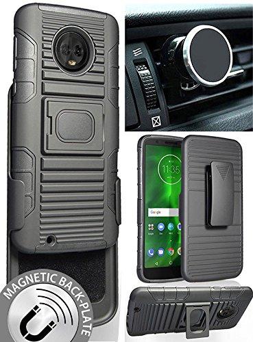 9ec757a90 Moto G6 Case/Mount/Clip, Nakedcellphone Black Ring Grip Case Cover + Belt
