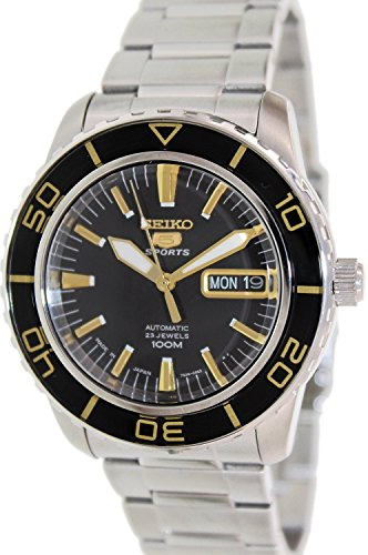 (Seiko 5 Sports Automatic Black Dial Stainless Steel Mens Watch SNZH57J1 by Seiko)