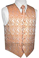 Brand Q Men's Tuxedo Vest, Tie & Pocket Square Set in Orange Paisley