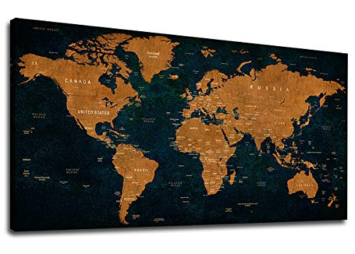 (Vintage World Map Canvas Wall Art Picture 20