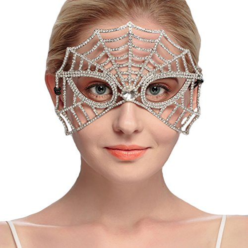 Zebratown Crystal Masquerade Mask Rhinestone Party Accessories (Spider (Papier Mache Halloween Costumes)