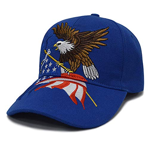 3D Embroidery Dad Hat Patriotic Eagle American Flag Adjustable Baseball Cap Classic Strapback Cap (RoyalBlue)
