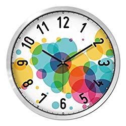 Nclon Circles Round Wall clock,Mute silent quiet Creative Quartz Texture Clear Not distorting Wall clock-silvery 30.5cm
