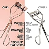 Eyelash Curler Kit (Rose Gold), Premium Lash Curler for Perfect Lashes, Eye Lash Curler with 5 Eyelash Curler Replacement Pads, Universal Eye Lashes Curlers, Eyelash Curler for Women