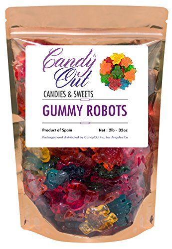 CandyOut Robots Gummy Candy 2 Pound in Sealed Resealable Stand Up Bag