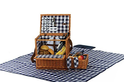 Picnic plus Saratoga Two Person Picnic Basket Set With Blanket Insulated Cooler (14 Pcs Included) (Wicker Saratoga)