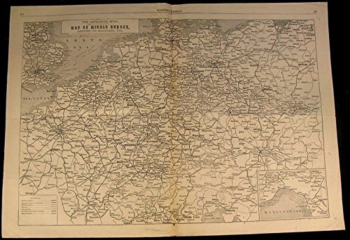 (Railroad Middle Europe Key Transport Routes 1866 antique wood engraved map)