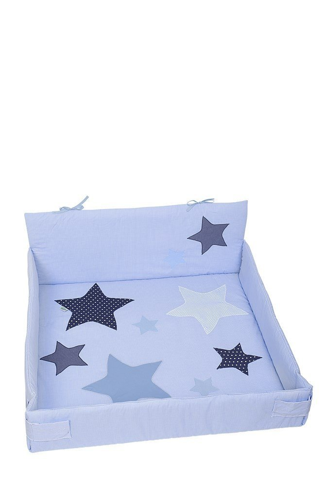 Odenwälder 8160-1663 Gr.100x100 cm Laufgittereinlage Star Karo hellblau
