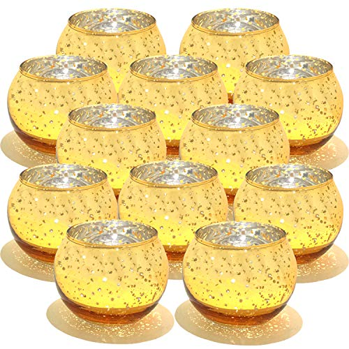 YOBZUO Round Gold Votive Candle Holders Bulk, Mercury Glass Tealight Candle Holder for Wedding Decor and Home Decor Set of 12 (Tea Mercury Light Holders Glass)