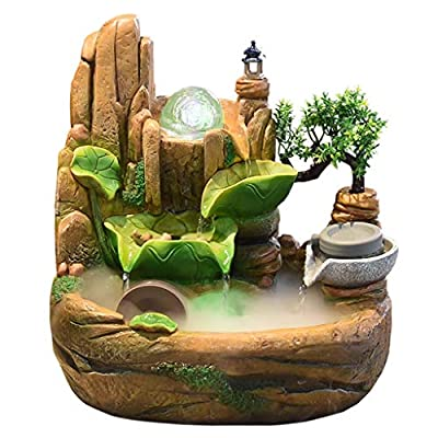 XuYuanjiaSho Indoor Fountain Decorative Crafts Desktop Fountain Indoor Small Waterfall Resin Rockery Small Fish Tank Home Decoration Gifts with Atomizer Home Office Decoration