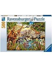 Ravensburger Pussel 14809 – vid vattenhål – 500 bitar pussel för vuxna och barn från 10 år, pussel med djurmotiv