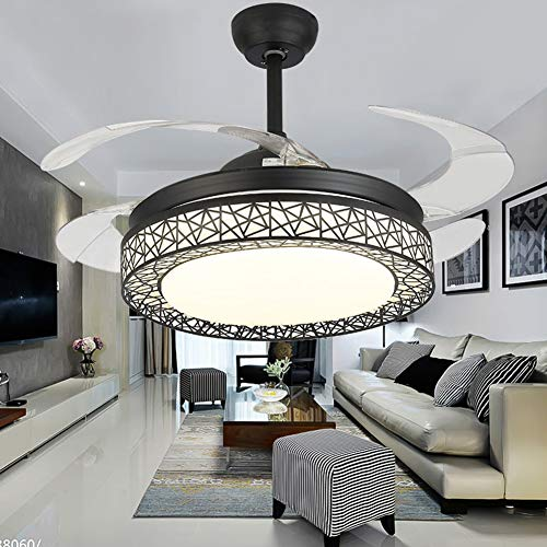 (42 inch Ceiling Fan Lights with Remote Control, 4 Acrylic Invisible Blades Retractable Fan Light LED Home Decoration Dinner Room Bedroom Silent Modern Fans Pendant Light)