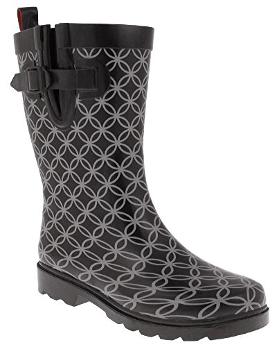 Ladies Boot Circle Short Pattern Black York Combo Shiny Capeli Geo Printed New Rain TwHxtv0