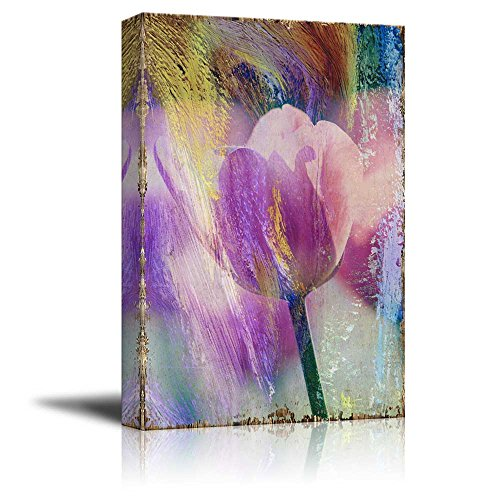 Pink Tulip Flowers on a Colorful Watercolor Background Nature