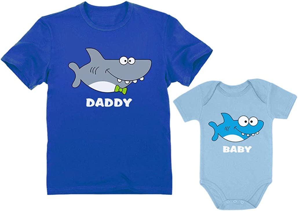 Matching Shark Shirts for Daddy and Baby Set Funny Newborn and Dad Outfits Gift