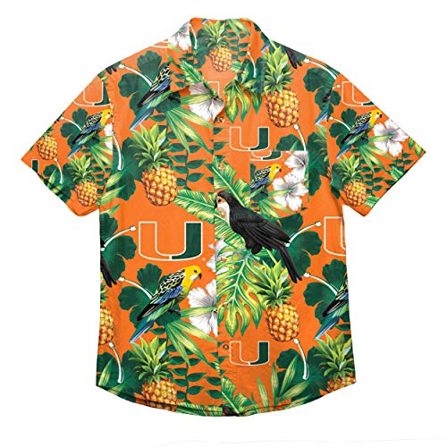 NCAA Miami Hurricanes Foco Floral Button Up Shirt, Team Color, XXL