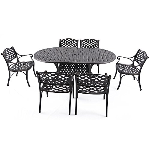 "Nuu Garden 7 Piece Outdoor Solid Cast Aluminum Patio Dining Conversation Set with 72"" x 42"" Oval Table and 6 High Back Arm Chairs, Antique Bronze (No Cushions) SCD002-02"