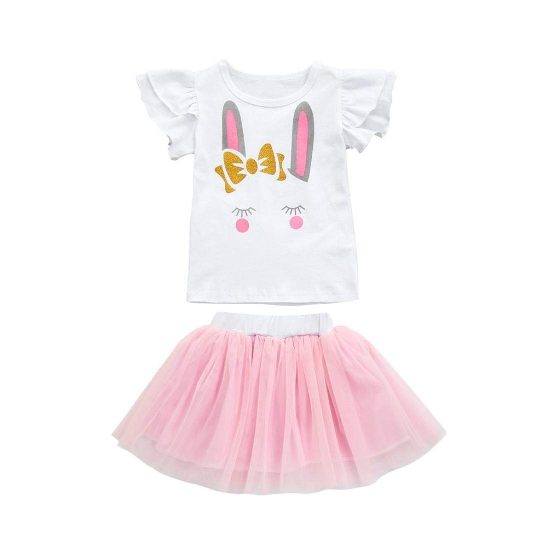Toddler Baby Girls Clothes Cartoon RabbitTopsT-Shirt+PinkTutuTulle Skirt Outfits Toddler Baby Outdoor Clothes Set
