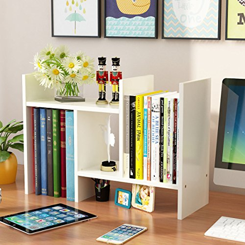 Yontree Expandable Wood Desktop Storage Organizer Multipurpose Desk Bookshelf Display Shelf Rack Counter Top Bookcase for Office Home 27.6x7.8x15.7 Inches Ivory White ()