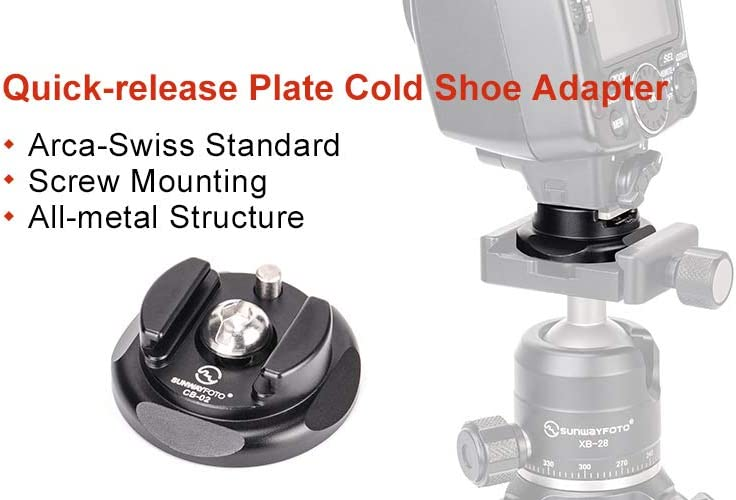 SHINEWEE CS01 Cold Shoe Adapter for Nikon and Canon Sony Flash Mount Convenient Arca Swiss Compatible,1//4-20 Mounting Thread Screw and 1//4-20 Thread Mounting Hole