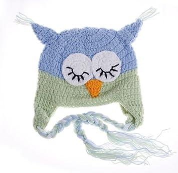 Bigood Bonnet Chouette Hibou Chapeaux Crochet Tricot Enfant Bébé 6~24 Mois  Bleu Vert 228be2ae0bc