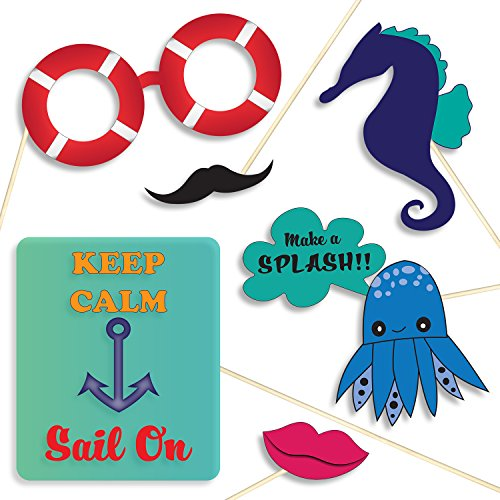 Nautical Party Photo Booth Props - Banners, Signs, Sailor Hats, Mustaches and (Cruise Ship Picture)