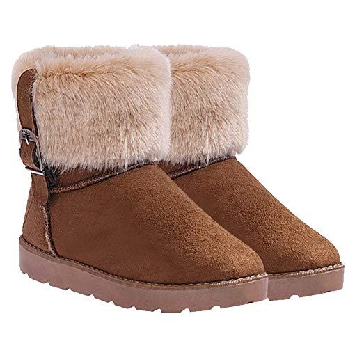 Peluche Sintetica Invernali Cachi Donna Bienbien Stivali Stivaletti Morbidi Vintage Pelliccia Con Imbottiti Boots Calde Snow Outdoor BTxFpwq4