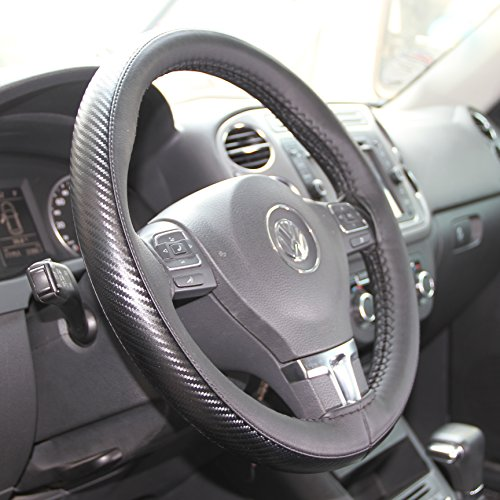 Circle Cool Black PVC Leather Carbon Fiber Style Steering Wheel Cover Wrap w/ Needle & Thread 14.75