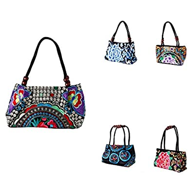 YARUIE Womens Vintage Boho Ethnic National Style Flowers Embroidered Double Faced Handbag Bag