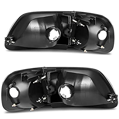 AUTOSAVER88 Headlight Assembly Compatible with 97-03 Ford F-150/97-02 Ford Expedition Pickup Headlamp Replacement,Black Housing Clear Lens: Automotive