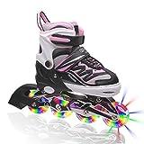 Kuxuan Girl's Cira Adjustable Kids Inline Skate with Light up Wheels Pink S