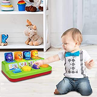 Playkidz Peek A Boo Animal Pop Up Toy - Pop-up Activity Toy for Babies and Toddlers Ages 9 Months and Up - Color Sorting and Animal Sounds and Music STEM Game