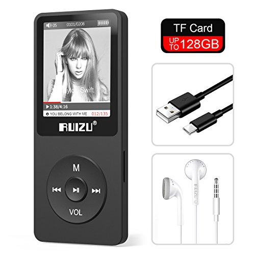RUIZU X02 8GB MP3 Player Classic Style with FM Radio, Voice Recorder, E-Book, Video Play, Ultra Slim Player with 1.8 Screen, Support up to 128GB Micro SD Card, Black