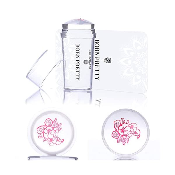 Born Pretty Nail Art Stamping Set 5Pcs Flower Mandala Plates 1Pc Jelly Silicone Stamper for manicuring Print DIY Kit 9