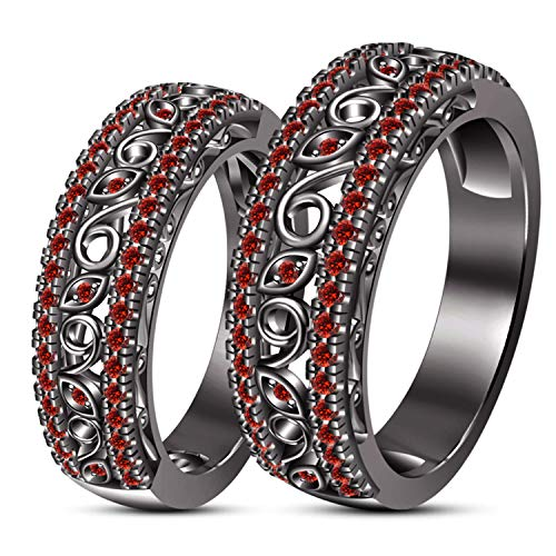 ArtLine Jewels Round Ruby Red CZ Stone Black Gold Fn Matching His/Her Engagement Wedding Ring Set -