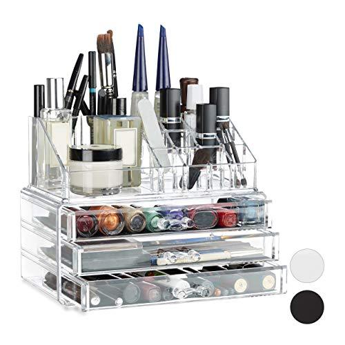 (Relaxdays Small Makeup Organizer, 2-Piece Cosmetics Storage with Drawers, Stackable Makeup Shelf, Transparent)