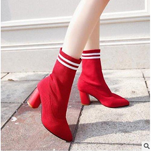 Calf Autunno HSXZ Comfort pu Inverno Red donna per Rosso tonda tallone Nero scarponi punta Casual Scarpe Chunky Mid stivali ttqFfr7Rg